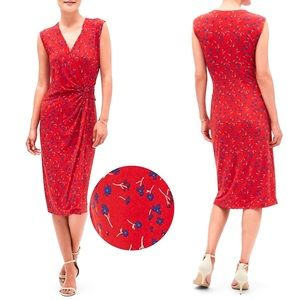 Banana Republic Factory Print Wrap Dress In Red